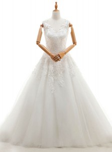 Fantastic With Train Zipper Wedding Gowns White for Wedding Party with Appliques Brush Train
