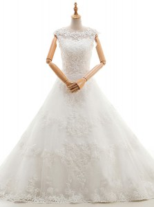 White A-line Tulle Scoop Sleeveless Appliques With Train Clasp Handle Wedding Gown Brush Train
