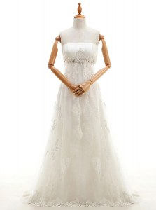 White Tulle Zipper High-neck Sleeveless With Train Wedding Dresses Sweep Train Appliques