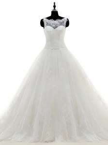 Charming Scoop Sleeveless Brush Train Zipper With Train Appliques Wedding Gowns