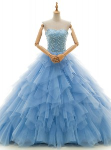 Dramatic Strapless Sleeveless Tulle Bridal Gown Beading and Ruffles Court Train Lace Up