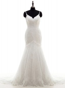 Excellent Mermaid Sleeveless With Train Lace Backless Wedding Gowns with White Brush Train