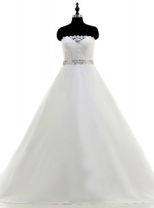 Enchanting White A-line Strapless Sleeveless Organza With Train Sweep Train Backless Beading and Lace Wedding Gowns