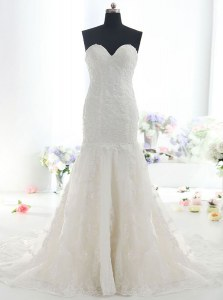 Mermaid Lace Sweetheart Sleeveless Brush Train Backless Lace Wedding Dresses in White