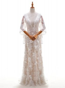 Cute Peach Side Zipper Bateau Appliques Bridal Gown Lace Half Sleeves Brush Train