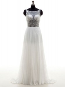 Extravagant White Empire Chiffon Bateau Sleeveless Beading With Train Zipper Wedding Dresses Sweep Train