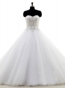 Sexy Sweetheart Sleeveless Brush Train Clasp Handle Wedding Dress White Organza
