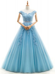 Luxury A-line Wedding Gown Baby Blue V-neck Tulle Cap Sleeves Floor Length Lace Up