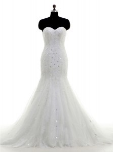 Mermaid White Tulle Zipper Wedding Dresses Sleeveless With Brush Train Beading and Lace