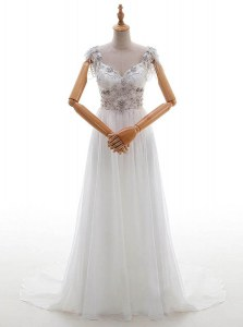 White V-neck Side Zipper Beading and Bowknot Wedding Gown Chapel Train Cap Sleeves