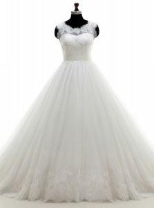 High Quality White A-line Tulle Scoop Sleeveless Lace With Train Clasp Handle Wedding Dress