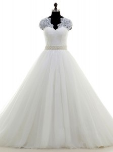 Fashionable White Cap Sleeves Tulle Brush Train Clasp Handle Wedding Gowns for Wedding Party