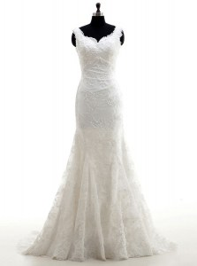 Deluxe Mermaid White Tulle Clasp Handle Wedding Dresses Sleeveless With Brush Train Lace