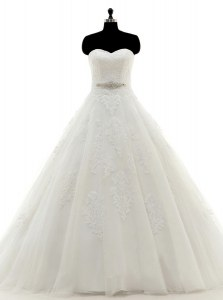 Sleeveless Brush Train Clasp Handle With Train Beading and Lace and Appliques Bridal Gown