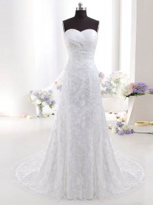 Latest White Sweetheart Neckline Beading and Lace Wedding Gown Sleeveless Clasp Handle