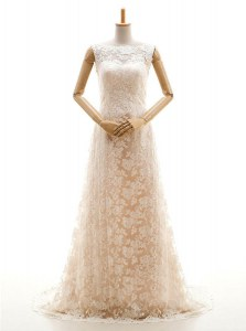 Eye-catching Bateau Sleeveless Sweep Train Clasp Handle Wedding Gown Champagne Lace