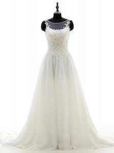 Stylish Scoop With Train Column/Sheath Sleeveless White Wedding Gowns Brush Train Clasp Handle