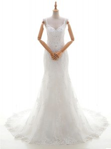 Sleeveless With Train Beading and Lace and Appliques Criss Cross Wedding Dresses with White Brush Train