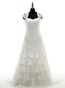 Ruffled White Cap Sleeves Lace Brush Train Lace Up Wedding Dresses for Wedding Party