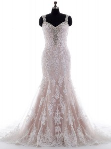 Chic White Tulle and Lace Backless Wedding Dress Sleeveless With Brush Train Beading and Lace