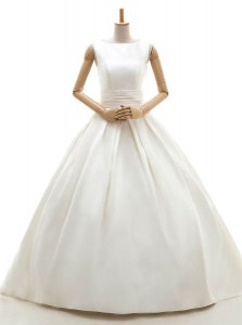 White Bridal Gown Wedding Party and For with Ruching Bateau Sleeveless Clasp Handle