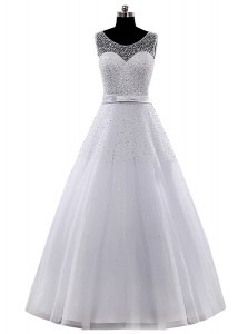 Scoop White A-line Beading and Belt Bridal Gown Clasp Handle Tulle Sleeveless Floor Length