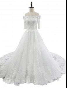 White Off The Shoulder Zipper Lace Wedding Gowns Chapel Train Half Sleeves