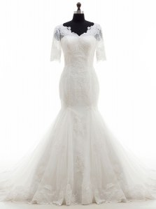 Mermaid Half Sleeves Court Train Lace and Appliques Clasp Handle Wedding Dresses