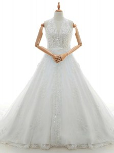 Fashionable Lace White Wedding Gowns Wedding Party and For with Appliques Halter Top Sleeveless Brush Train Zipper