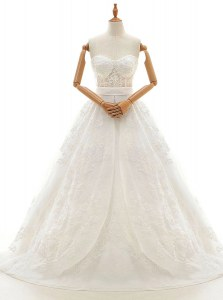 With Train White Wedding Gown Organza Court Train Sleeveless Lace and Appliques and Bowknot