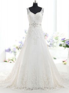 High Quality White Backless Wedding Gown Beading and Lace Sleeveless With Brush Train