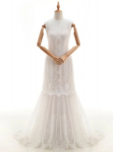 Amazing Lace With Train Column/Sheath Sleeveless White Wedding Gown Brush Train Clasp Handle