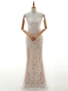 Popular Cap Sleeves Floor Length Lace Zipper Wedding Gowns with Champagne
