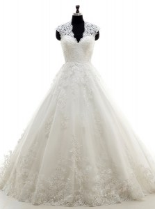 Dazzling Cap Sleeves Brush Train Lace and Appliques Clasp Handle Bridal Gown