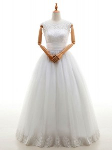 Scoop Sleeveless Bridal Gown Floor Length Lace White Tulle