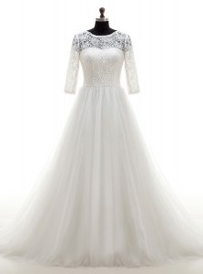 Hot Sale Scoop With Train White Wedding Dress Tulle Brush Train Half Sleeves Lace