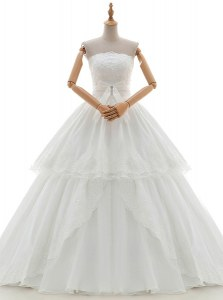 Ruffled Floor Length A-line Sleeveless White Wedding Gown Lace Up