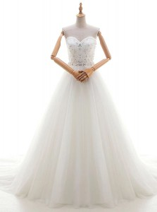 White Lace Up Wedding Dress Beading and Appliques Sleeveless With Brush Train