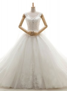 Modern Tulle Sleeveless With Train Wedding Gown Chapel Train and Lace