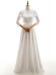 High Quality White Chiffon Lace Up V-neck 3 4 Length Sleeve Floor Length Wedding Gown Lace