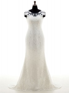 Lace With Train White Bridal Gown Scoop Cap Sleeves Brush Train Zipper