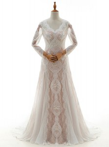 Amazing White Column/Sheath V-neck Long Sleeves Lace With Brush Train Zipper Lace Bridal Gown
