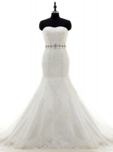 White Mermaid Sweetheart Sleeveless Lace With Brush Train Lace Up Beading and Sashes ribbons Bridal Gown