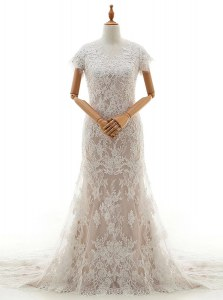 Edgy Mermaid Lace and Appliques Bridal Gown White Clasp Handle Cap Sleeves With Train Chapel Train