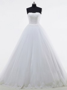 White Sleeveless Tulle Brush Train Clasp Handle Bridal Gown for Wedding Party