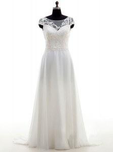 Scoop Lace and Bowknot Wedding Dresses White Backless Sleeveless With Brush Train