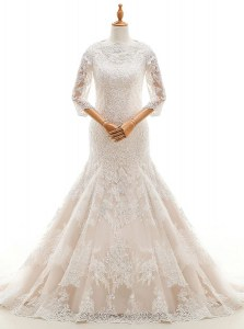 Mermaid 3 4 Length Sleeve Lace With Train Court Train Clasp Handle Bridal Gown in White with Lace and Ruffled Layers