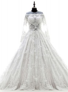 Lace White Wedding Dresses Scoop Long Sleeves Court Train Zipper