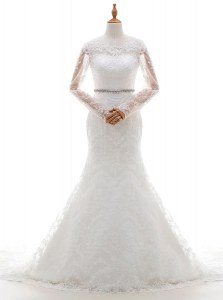 Inexpensive Mermaid Scoop White Clasp Handle Wedding Gown Beading and Lace Long Sleeves With Brush Train