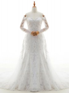 Dazzling Lace Off The Shoulder Long Sleeves Brush Train Lace Up Beading and Lace Bridal Gown in White